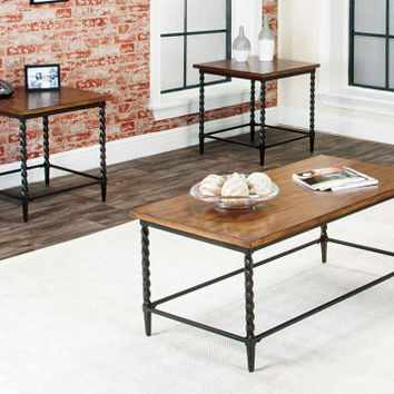 Rustic Oak And Espresso Side And Coffee Tables | Pisa 3 Piece Set | American  Freight