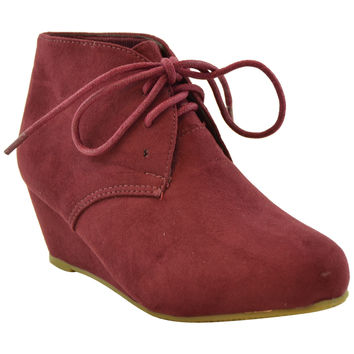 Kids Ankle Boots Faux Suede Low Heel Casual Wedges Burgundy