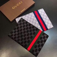 GUCCI Tide brand men's winter warm long Jacquard double G letter shawl scarf