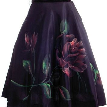 "Vintage Circle Skirt Hand Painted Rose On Black  1950S 30"" Waist"