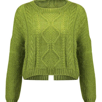 Fluffy Sweater in Light Green