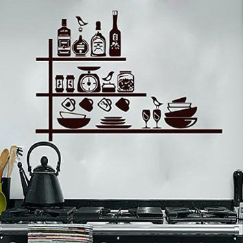 Wall Decals Decal Vinyl Sticker Crockery Spices Shelves Kitchen Home Decor Interior Design Cafe Restaurant Art Murals MN362