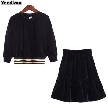 2018 New Big Girls Black Velour Long Sleeve Blouse With Fishtail Flare Skirt 2 Pieces Set Velvet Clothes Autumn Boutique Outfits