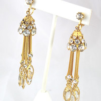 Vintage Gold Tone Clip On Costume Earrings with Rhinestones.