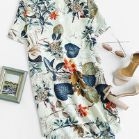 Multicolor Tropical Print Round Neck High Low Dress