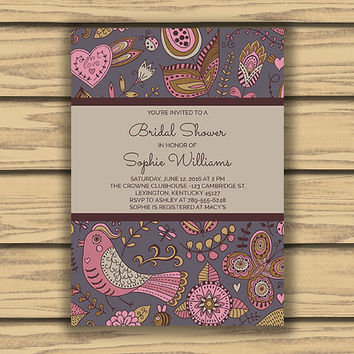 Whimsical Doodles Bridal Shower Invitation, 5x7 Inch, Printable, Purple Nature Pattern, Pink Birds, Pink Hearts, Girly Invitation