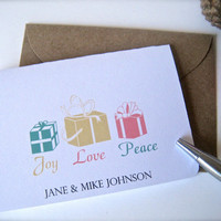 Small holiday cards with envelopes, Christmas cards, gift enclosures, enclosure cards, holiday notes - set of 5, custom Christmas cards