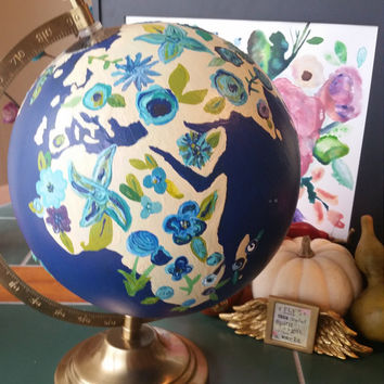 Blue Hand-Painted Floral Globe