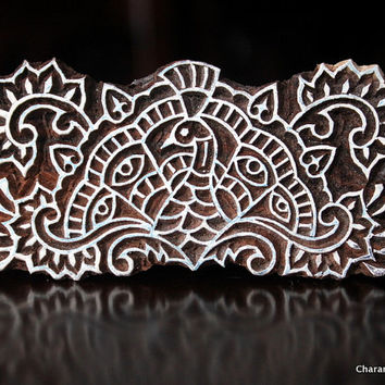 Hand Carved Indian Wood Textile Stamp Block- Unique Peacock Motif