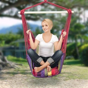 Hanging Rope Chair Swings Canvass Seat Camping Yard Tree Stripe RED Air Outdoor