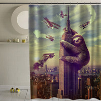 Slothzilla special custom shower curtains that will make your bathroom adorable.