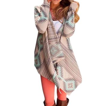 Women's Taupe & Mint Green Aztec/Tribal Printed Long Sleeve Cardigan Sweater