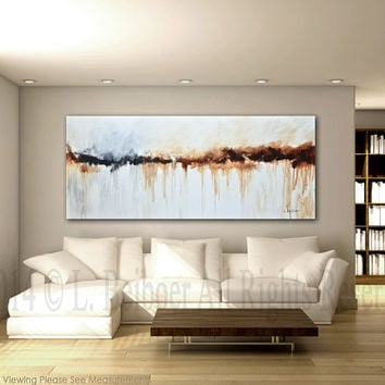 Large abstract painting original art 6ft big white brown modern abstract painting 30x72 by L.Beiboer free shipping