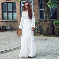 Women Soild White Dress Boho Party Long Maxi Beach Dress Chiffon Long Sleeve Sundress
