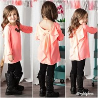 Girls Coral Tea Party Top With Bow