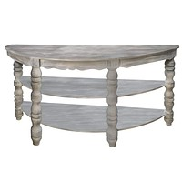 Half moon Shaped Wooden Console Table with 2 Shelves and Turned Legs, Gray By The Urban Port
