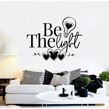 Vinyl Wall Decal Inspirational Phrase Be The Light Hearts Lamp Bulb Stickers Mural (g3107)