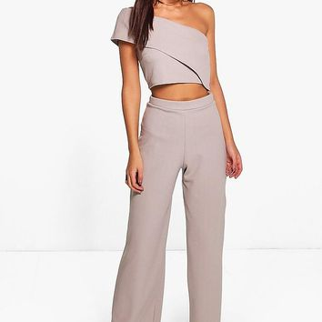 Harlow One Shoulder Crop & Wide Leg Co-Ord Set | Boohoo