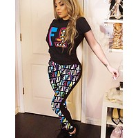 Fendi Fashion New Multicolor More Letter Print Sports Leisure Top And Pants Two Piece Suit 1#