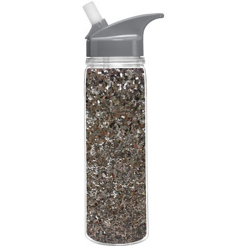 Slant Collections- 18 Oz. Loop Water Bottle- Silver Glitter