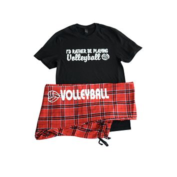I'd Rather Be Playing Volleyball Pajama Gift Set with Pant and Short Sleeve BlackTee