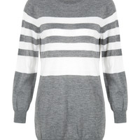 Grey Contrast Stripe Knitted Dress
