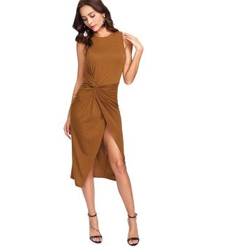Summer Women Sexy Wear Twist Front Overlap Hem Solid Dress  Round Neck Sleeveless Sheath Dress
