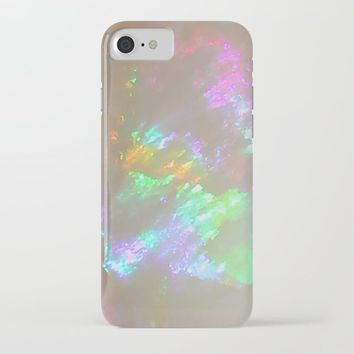 Quartz Opal iridescent holographic faux druse agate crystal gem gemstone geode mineral stone photo iPhone Case by igalaxy