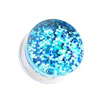 Double Sided Holographic Glitter Double Flared Ear Gauge Plug
