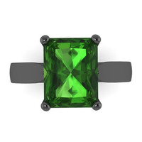 Classic Solitaire Engagement Ring 14K Black Gold with 9x7mm Green Emerald Center - V1100