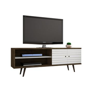 """62.99"""" Mid Century - Modern TV Stand w/ 3 Shelves & 2 Doors w/ Solid Wood Legs-Rustic Brown, White"""