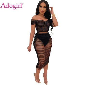 Adogirl Side Lace Up Sheer Mesh Ruched Midi Dress Women Sexy Short Sleeve Off Shoulder Bodycon Night Club Party Dress Vestidos