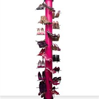 Pink Shoe Rack Holds 30 Pairs of Shoes