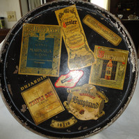 Vintage Wood Type Round Liquor Label Theme Serving Tray
