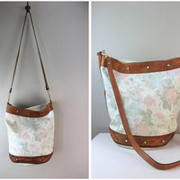 Vintage White and Pink Floral Tote Bag with Brown Leather Trim