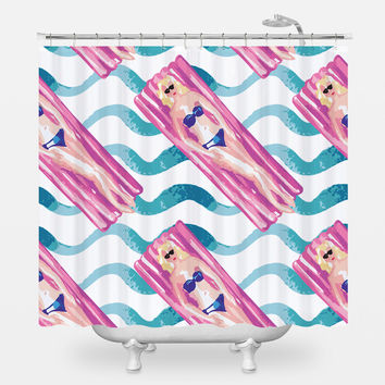 Pool Lounging Shower Curtain
