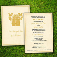 Vintage Modern Elegant Asian Chinese Double Happiness Customizable Wedding Invitation - Double Sided DIY Printable