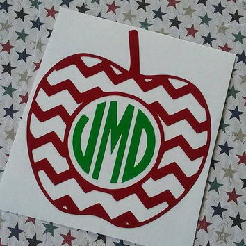 Apple Monogram | Teacher Monogram | Teacher Decal | Apple Decal | Chevron Decal | Chevron Apple Decal | Apple Vinyl Decal | Teacher Gift