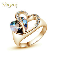 VOGEM Gold 585 Heart Shape Blue Stone Promise Rings for Women Rose Gold Plated with AAA+ Zircon Bague Femme Anel Turkish Jewelry