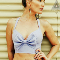Sunset Crop Top - Chambray  - All Sizes Made to Order
