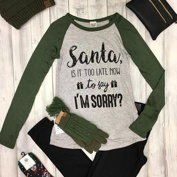 Too Late to Say I'm sorry graphic baseball tee - Olive