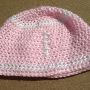 Pink crochet football beanie- sports hat- girls