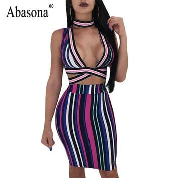 Abasona Women Striped Dresses Summer Sleeveless Bodycon Pencil Dress Sexy Club Wear Two Pieces Outfit Women Dress Robe Femme