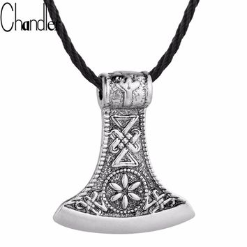 Chandler Slavic Perun axe Necklaces Antique Silver Plated Amulet Kolovrat Symbol Pagan Jewelry Amulets and Talismans Old Colier
