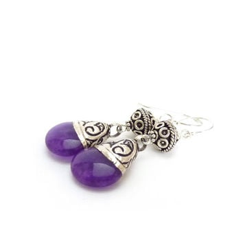 Amethyst Earrings - Artisan Tibetan Beads - Sterling Silver Bali Beads - Bohemian Dangle Earrings - Nepalese Jewelry - Purple Earrings