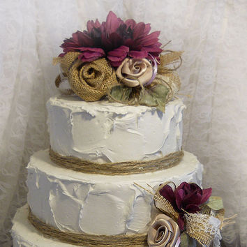 Burlap Cake Topper with 2 matching picks. One of a kind, done in plum, brown burlap, champagne, lavender and twine. Ready to Ship!