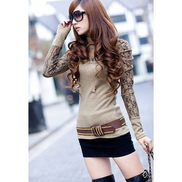 Casual Turtle Neck Solid Color and Splicing Lace Design Blended Bottoming Shirt