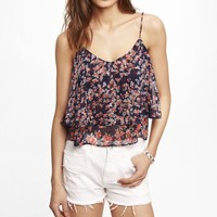 FLORAL DOUBLE LAYER TRAPEZE CAMI