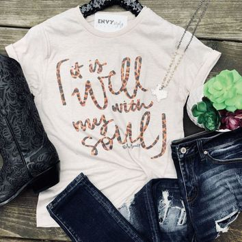 It Is Well With My Soul Leopard Graphic Tee