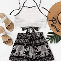 Random Print Lace Knot Back Halter Top With Shorts